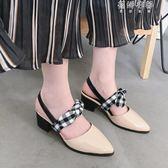 韓版蝴蝶結包頭涼鞋女尖頭粗跟漆皮中跟小清新仙女鞋 蓓娜衣都