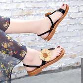 波西米亞平底涼鞋女學生百搭簡約夾腳羅馬鞋花朵沙灘鞋『伊莎公主』