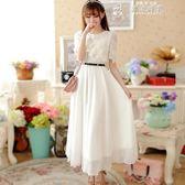 洋裝連身裙夏季新款繡花雪紡中長款韓版氣質顯瘦小個子大擺蕾絲裙