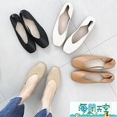 春季新款韓版真皮淺口單鞋百搭方頭女鞋兩穿一腳蹬平底奶奶鞋【海闊天空】
