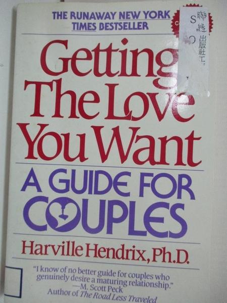 【書寶二手書T2/兩性關係_AYC】Getting the love you want : a guide for couples_Harville Hendrix.