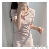 洋裝 新款很仙的egg智熏法式洋裝女夏收腰顯瘦氣質Polo領t恤裙子