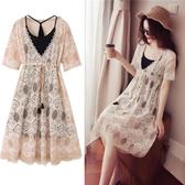 【免運】大碼女裝胖mm夏裝新款顯瘦遮肚子連衣裙兩件套胖妹妹蕾絲套裝減齡