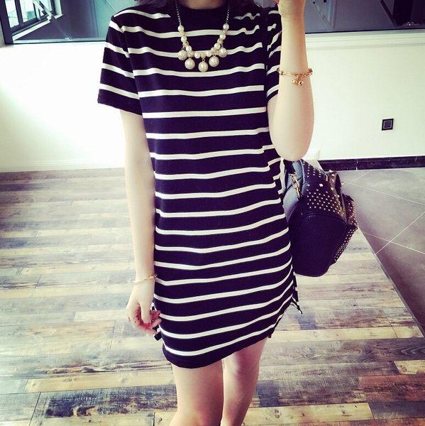 VK精品服飾時尚簡約條紋基本款短袖洋裝
