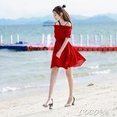 一字領洋裝   一字肩紅色連身裙新款初戀露肩韓版小清新吊帶女夏小個子顯瘦 coco衣巷