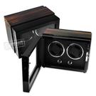 機械錶自動上鍊收藏盒 2旋2入錶座轉動 LED燈 鋼琴烤漆 - 黑x烏金木紋 #HD220-1WB-D