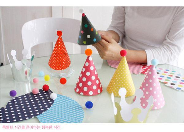 [韓風童品]  生日聚會帽子  可愛生日派對帽   歡樂派對帽子 大小朋友生日帽   帽子*9+皇冠2