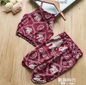 女童夏季無袖印花吊帶上衣女寶寶舒適休閒褲套裝 歐韓時代