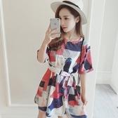 洋裝-花色時尚優雅繫帶收腰女連身裙73hd65【時尚巴黎】