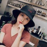 日系大帽檐漁夫帽 字母刺繡純棉帽子 文藝盆帽【多多鞋包店】m279