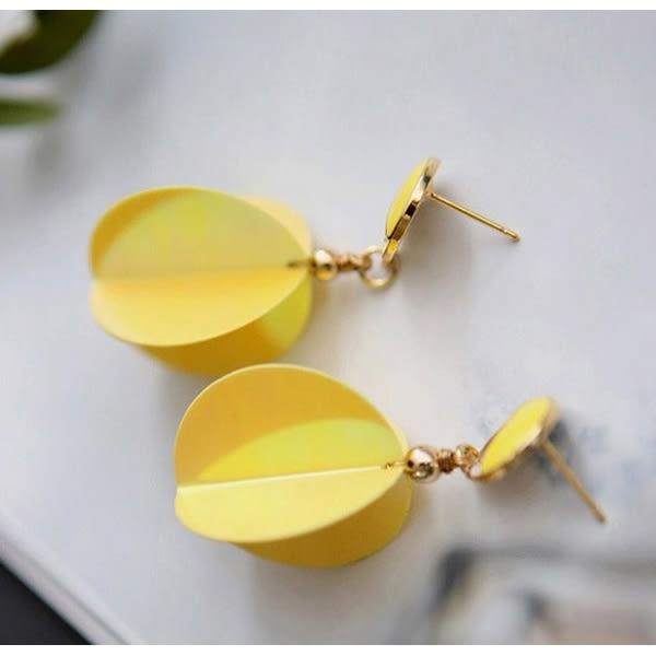 耳環 日韓流行新款時尚個性立體圓片組合垂墜式耳環【1DDE0604】