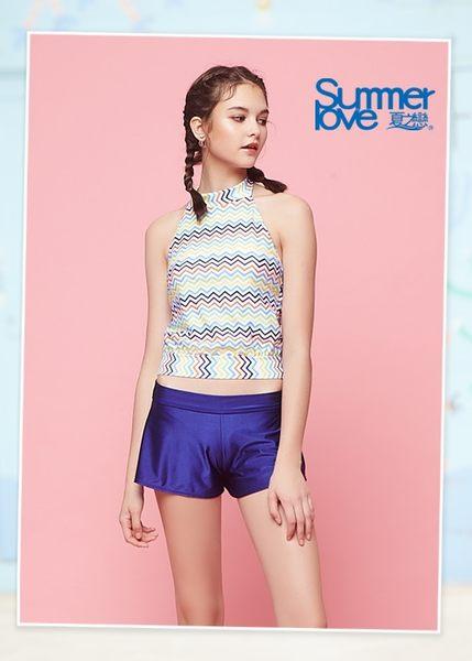 【Summer Love 夏之戀】削肩背心三件式泳衣(S18721)
