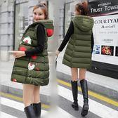 羽絨棉馬甲女中長款新款韓版修身連帽兩面穿秋冬棉服背心外套 韓慕精品