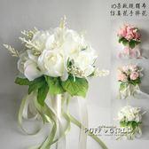 玫瑰新娘結婚手捧花仿真韓式伴娘影樓拍照道具推薦   泡芙女孩輕時尚