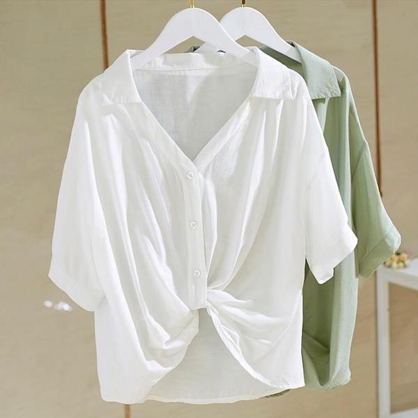 V領白襯衫女設計感小眾短袖新款2021年寬鬆顯瘦下擺打結上衣女夏『潮流世家』