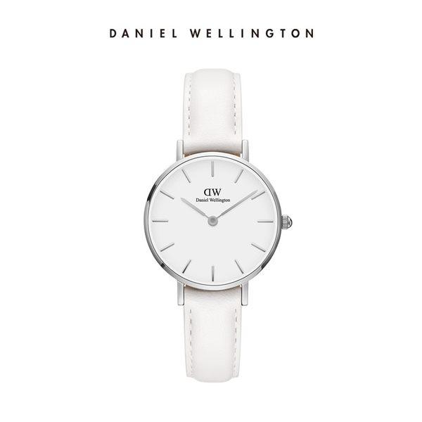 Daniel Wellington DW 手錶 28mm銀框 Classic Petite 純真白真皮皮革錶