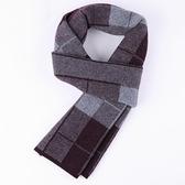 羊毛圍巾-學院風格子加厚針織男披肩2色73wh73【時尚巴黎】