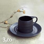 【3,co】卡布奇諾杯碟組(2件式) - 黑