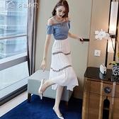 蕾絲洋裝露肩連身裙女夏季新款中長款雪紡裙子氣質顯瘦很超仙的女長裙 快速出貨