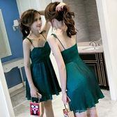 涼感夏新款女裝性感百褶露肩吊帶裙連身裙chic修身顯瘦氣質裙子   Cocoa