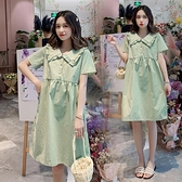 孕婦洋裝 孕婦裝夏裝韓版大碼寬鬆娃娃領孕婦夏季洋裝時尚寬鬆短袖上衣夏