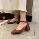 包頭涼鞋 一字帶扣單鞋女春季新款高跟鞋中空粗跟包頭復古仙女風涼鞋夏 韓菲兒