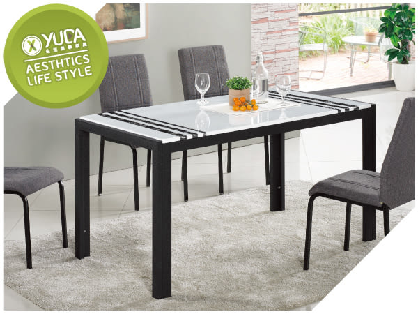 【YUDA】羅禮士 4.6尺 黑色 漢白玉 餐桌 J8F 455-1