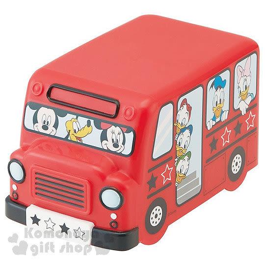 〔小禮堂〕迪士尼 校車造型雙層微波便當盒《紅.多角色.460ml》附鬆緊帶 4973307-37785