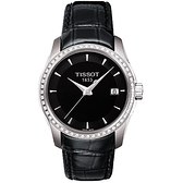 TISSOT 天梭 T-Trend Couturier Lady 時尚簡約鑽錶-黑 T0352106605100