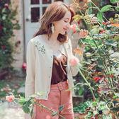 東京著衣【YOCO】粉嫩花朵刺繡珍珠釦針織外套-S.M.L(180366)