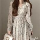 長裙顯瘦顯高氣質仙女裙chic溫柔風V領長袖雪紡碎花洋裝女秋裝 果果輕時尚