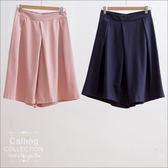 褲裙 - LADY款素色打褶水洗絲寬褲裙 四色 Calling1230