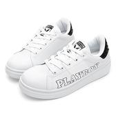 PLAYBOY 率性簡約 字母仿皮綁帶休閒鞋-白黑(Y5710白黑)
