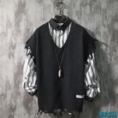 韓版學院風V領針織衫套頭馬甲男毛衣韓風無袖寬鬆情侶背心
