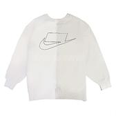 NIKE 長袖T恤 NSW Women Crew 白 灰 女款 拉鍊拼接 運動休閒 【ACS】 CZ1431-072