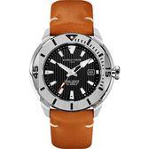 GIORGIO FEDON 1919 海洋系列200米機械錶-黑x棕皮帶/47mm GFCH005