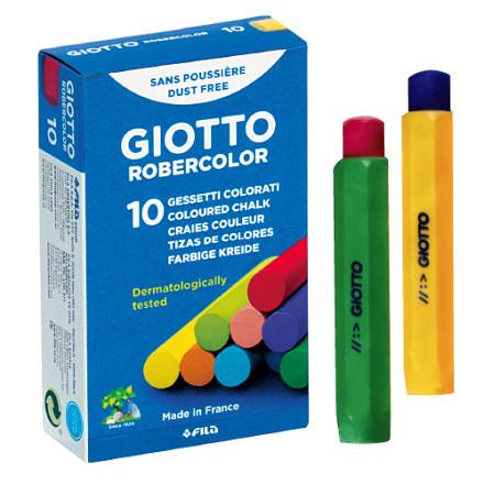 【義大利 GIOTTO】無毒環保粉筆 (10色)+粉筆護套(2入)