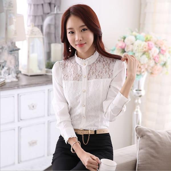 OL長袖襯衫女~*艾美天后*~韓版時尚辦公白襯衫修身工作襯衫長袖襯衫