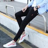 黑色牛仔褲男士修身潮流小腳百搭春季休閑褲子