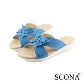 SCONA 蘇格南 真皮 舒適楔型涼拖鞋 藍色 22816-1