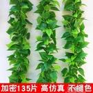 塑料葉子藤條綠藤假仿真樹葉綠色綠葉裝飾綠植花藤蔓水管遮擋纏繞 3C優購