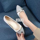 【免運】淺口平底尖頭單鞋軟底舒適瓢鞋低跟伴娘鞋女鞋