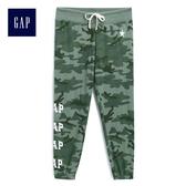 Gap女裝 舒適Logo印花休閒褲 499512-綠色迷彩