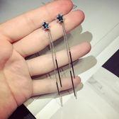 銀針閃耀星空韓國韓版時尚不對稱星星長款流蘇耳環耳線耳飾品   LannaS