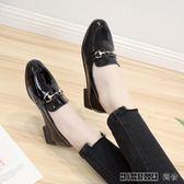小皮鞋圓頭粗跟鞋韓版百搭套腳豆豆鞋