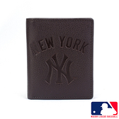 背包族【MLB美國大聯盟】洋基 簡單直式牛皮皮夾/短夾/錢包/男夾(咖啡色)