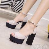 高跟涼鞋 新款高跟粗跟防水台魚嘴一字扣帶涼鞋金屬裝飾包跟女鞋潮 唯伊時尚