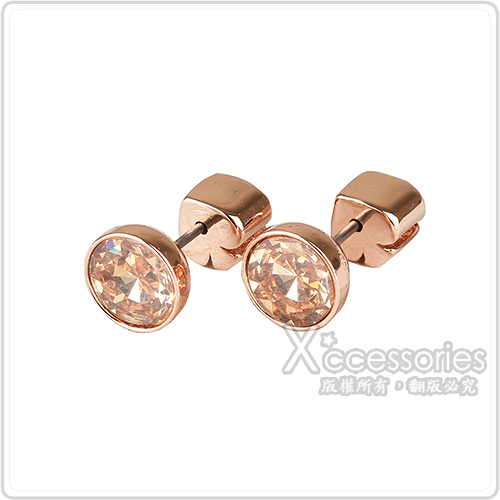 kate spade Reflecting pool系列黑桃LOGO簡約設計鑽鑲飾穿式耳環(玫瑰金x金)