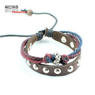 單層彩色麻繩牛皮鉚釘手帶