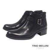 Tino Bellini雙皮帶全真皮低跟短踝靴_黑 A69031 歐洲進口